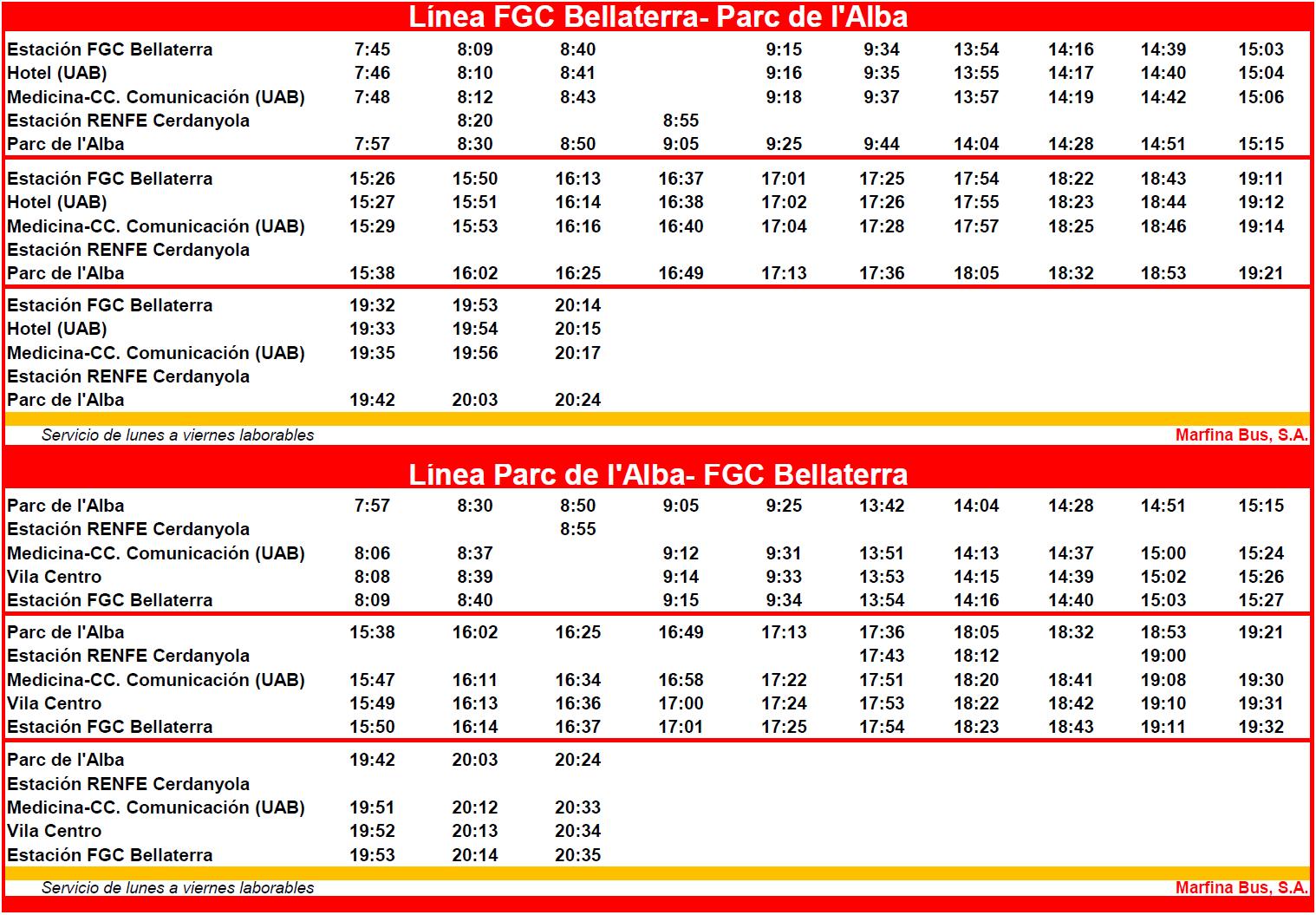 Bus Timetable